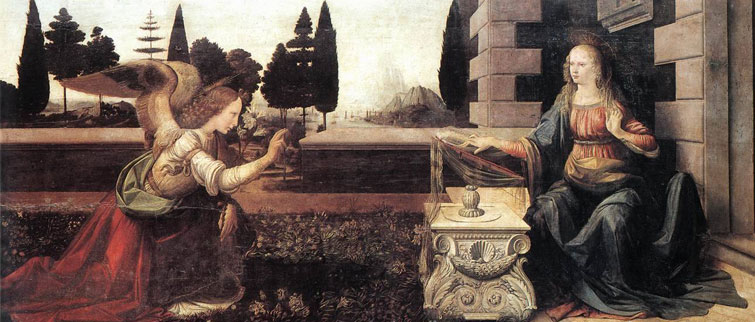 The Annunciatio by-Leonardo-da Vinci was painted with-Andrea del Verrocchio circa 1472-1475