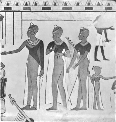 OFFERINGS TO THE DEAD, WALL PAINTING, EIGHTEENTH DYNASTY